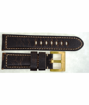 GENUINE LEATHER PADDED VINTAGE DISTRESSED BROWN 24/22 BRASS BUCKLE