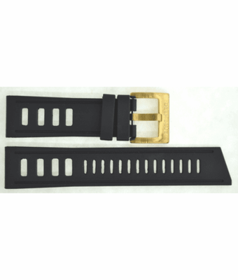 BLACK HYDRO 91 NATURAL RUBBER STRAP 24/22 BRASS BUCKLE