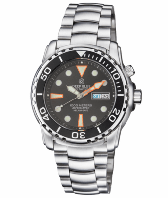 PRO TAC DIVER 1000M AUTOMATIC BLACK BEZEL BLACK DIAL ORANGE INDICES BRACELET