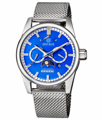FLEET ADMIRAL 5 STAR – TRITIUM TUBES - STAINLESS CASE – BLUE DIAL