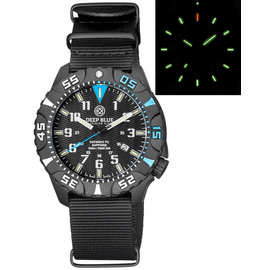 DAYNIGHT DIVER PC TRITIUM WATCH BLACK/BLUE BEZEL - BLACK DIAL