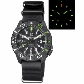 DAYNIGHT DIVER PC TRITIUM WATCH BLACK/GREEN BEZEL - BLACK DIAL