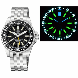 MASTER 2000 GMT DAYNIGHT T-100 TRITIUM AUTOMATIC DIVER- ETA 2893-2 SWISS MADE MOVEMENT BLACK BEZEL BLACK DIAL YELLOW GMT HAND
