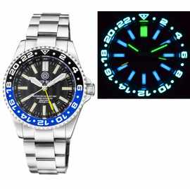 MASTER 500 42MM DAYNIGHT T-100 TRITIUM GMT AUTOMATIC DIVER- ETA 2893-2 SWISS MADE MOVEMENT BLACK/BLUE BEZEL – YELLOW GMT HAND