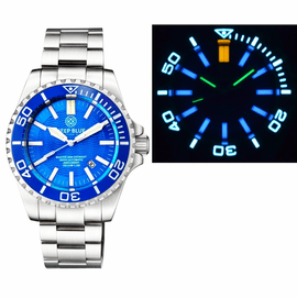 MASTER 2000 DAYNIGHT T-100 TRITIUM SWISS AUTOMATIC DIVER BLUE BEZEL – LIGHT BLUE DIAL SS CASE