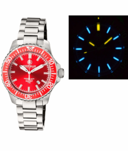 DAYNIGHT DIVER TRITIUM T-100 AUTOMATIC BRACELET – SS RED CERAMIC BEZEL RED DIAL