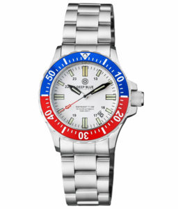 DAYNIGHT 41 TRITDIVER T-100 TRITIUM TUBES AUTOMATIC BLUE / RED BEZEL - WHITE DIAL