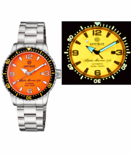 ALPHA MARINE AUTOMATIC BLACK ORANGE CERAMIC LUMINOUS BEZEL FULL LUME ORANGE DIAL