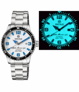 ALPHA MARINE AUTOMATIC BLACK WHITE CERAMIC LUMINOUS BEZEL FULL LUME WHITE BLUE  DIAL