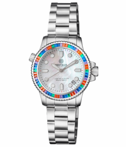 """LADIES DIVER """"LIZZY BLUE"""" – MULTI RAINBOW COLOR BAGUETTE CRYSTAL BEZEL - WHITE MOTHER OF PEARL DIAL"""