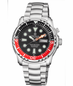 PRO SEA DIVER 1000M BRACELET BLACK/RED BEZEL - BLACK DIAL 15/30/45