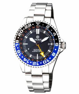 MASTER 500 42MM GMT AUTOMATIC DIVER- ETA 2893-2 SWISS MADE MOVEMENT BLACK/BLUE BEZEL – ORANGE GMT HAND