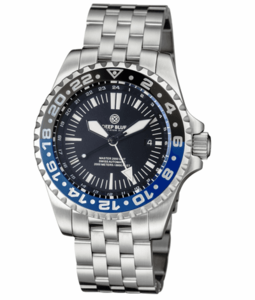 MASTER 2000 GMT AUTOMATIC DIVER- ETA 2893-2 SWISS MADE MOVEMENT BLACK/BLUE BEZEL – WHITE GMT HAND