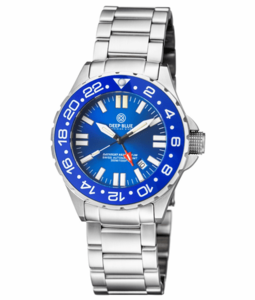 DAYNIGHT RESCUE GMT T-100 SWISS AUTO SELLITA SW-330-1 BLUE BEZEL/BLUE DIAL/ORANGE HANDS - RED GMT HAND